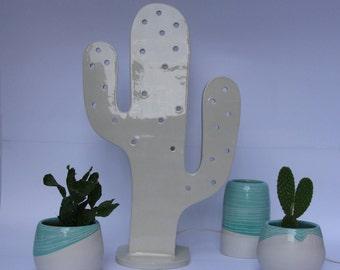 Cactus handmade ceramic lamp