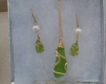 Lime Green Sea Glass Necklace & Earrings with Fresh Water Pearls