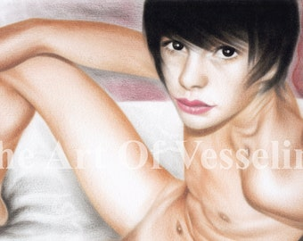 """Erotic Art Male Nude Print Of Oil Painting Naked Man Picture Nudity Drawing Artist Andreev - In The Bed - Limited Edition Boy 8""""x10"""" Mature"""