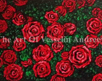 28x20 Flower Oil Painting - Roses - Floral Wall Art On Stretched Canvas Floral Wall Décor Red Roses Wall Hanging Rose Garden Artist Andreev