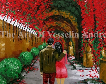 Landscape Oil Painting - Fallen In Love Couple Romantic Art Flowers Garden Picture Wedding Gift Anniversary Wall Decor Canvas Artist Andreev