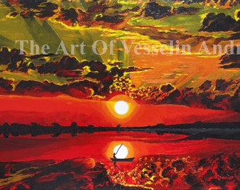 Seascape Oil Painting - Sunset - Original Wall Art Sundown Picture On Canvas Landscape Drawing Nature Scenery Marine Nautical Artist Andreev