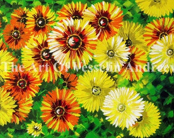28x20 Flower Print On Canvas - Chrysanthemums Print Of Flower Painting Floral Wall Art Picture Wall Décor & Hanging Landscape Garden Andreev