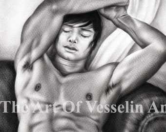 Erotic Male Nude Oil Painting Original Naked Man Art Picture Nudity - Taking A Rest - Like Graphite Pencil Drawing By Artist Andreev Mature