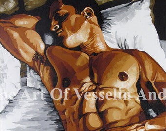 20x28 Male Nude Erotic Art Print On Canvas - Sleeping Man - Print Of Original Oil Painting Naked Man Picture Wall Hanging Artist Andreev