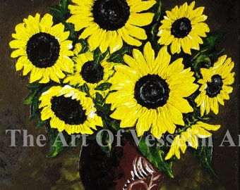 18x22 Flower Print On Canvas - Sunflowers - Print Of Flower Oil Painting Still Life Floral Wall Art Picture Wall Décor Wall Hanging Andreev