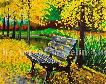 20x28 Landscape Oil Painting - Autumn Original Wall Art On Stretched Canvas Nature Wall Décor Yellow Forest Wall Hanging Scenery By Andreev