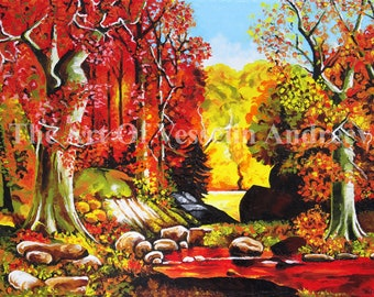 Landscape Oil Painting - Autumn Original Wall Art Picture On Canvas Forest Drawing Nature Wall Décor & Hangings Wood Scenery Artist Andreev