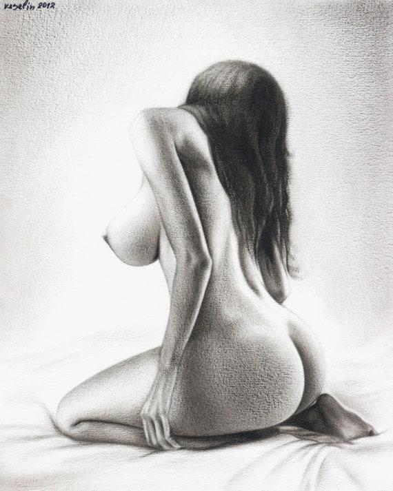 Romantic Couple Nude Drawing Pencil Art Erotic Wall Art