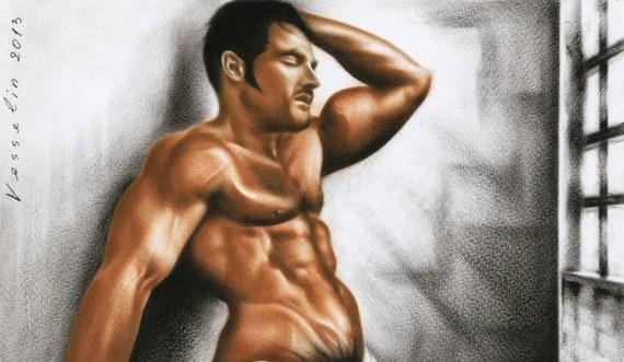 Homme Nu Erotique Art Imprime De Peinture A Lhuile Homme Nu Etsy