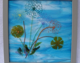 Dandelion fused glass wall art, Dandelion print, Gift box option