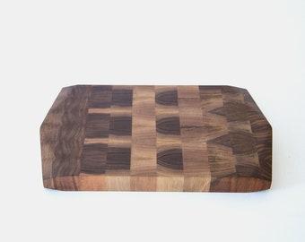 End Grain Geometric Cutting Board — Black Walnut