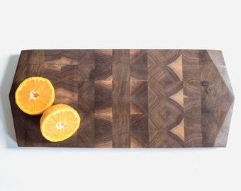 Geometric End Grain Cutting Board in Black Walnut