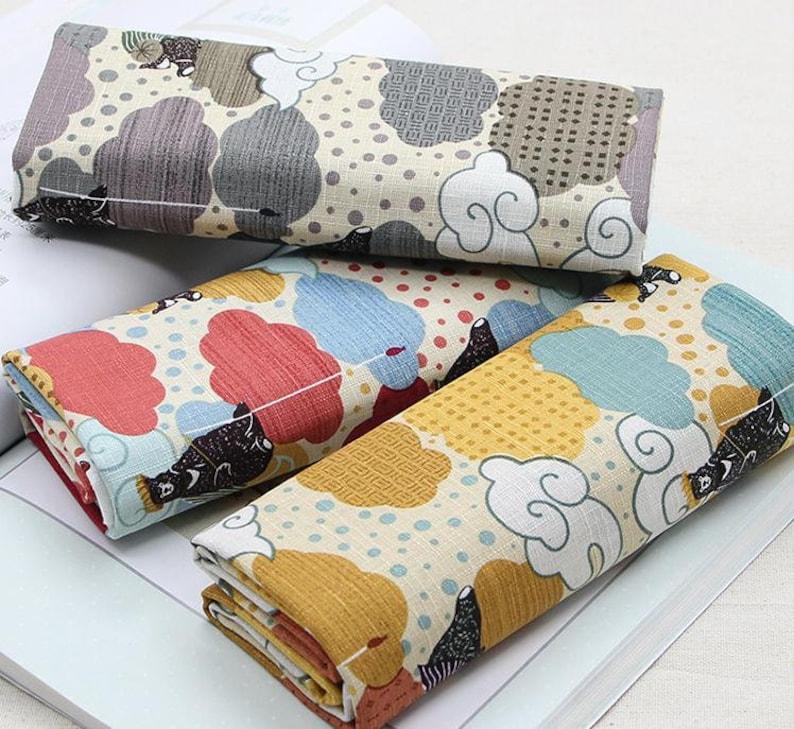 -Half Yard Vintage Chinese Japanese Cotton Linen Slub Fabric with Cute Bear and Cloud for Clothing \uff0cBag Purse \uff0cTable Runner \uff0cDIY ETC
