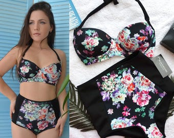 2fa09fb97bb3 High waisted bikini swimsuit set / High waisted Swimsuit / Padded bikini /  Floral bikini / Plus size bikini
