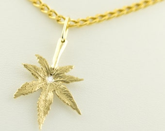 CANNABIS Diamond Solitaire PENDANT & chain, 14 and 8 kt. Gold, leaf, weed