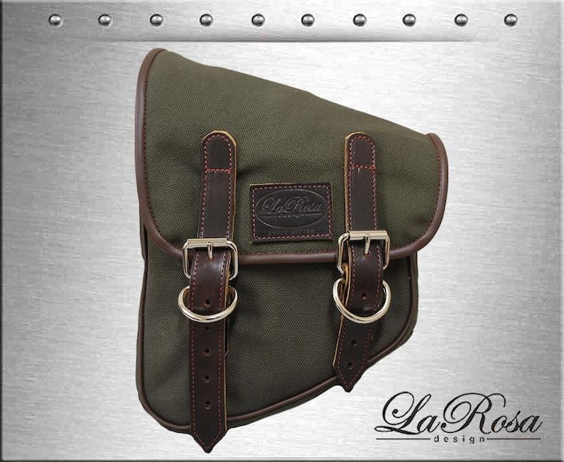 db1972a74857 LaRosa Army Green Canvas Eliminator Harley Softail Rigid Left
