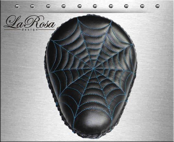 "15/"" Black Leather Vintage Shedron Inlay LaRosa HD Springer Solo Seat /& Springs"