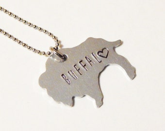 Buffalo Necklace Hand Stamped Aluminum