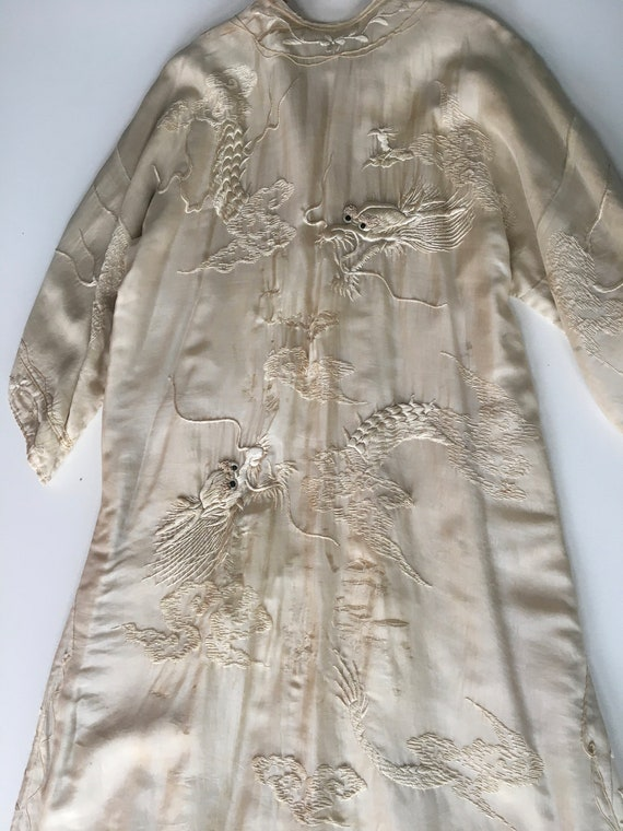 Antique 1920s silk house coat robe kimono with rai