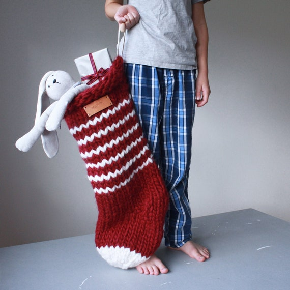 Christmas stocking knitting pattern made from Chunky wool