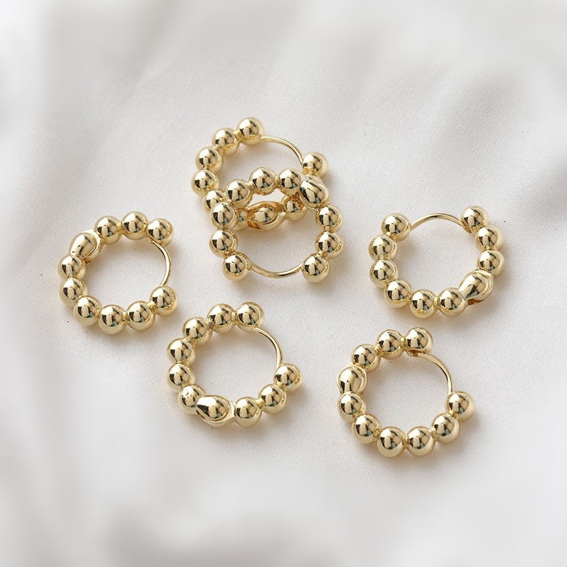 5pairs 23mm 14K Gold Plated Brass Round Ear Studs Beads Ear Studs Geometry Earring Studs With 925 Sterling Silver Pin GG032