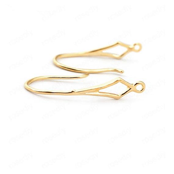 30pcs Gold-Filled Brass Pave Cubic Zirconia Earring Hooks Earwire Findings 15mm