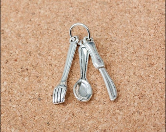 20pcs 28mm Antique Silver Fork Pendants Spoon Charm Knife Pendant Tableware Charm Pendants LJB218