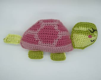 Turtle rag doll, amigurumi turtle, turtle pillow, crochet turtle, pink turtle,  turtle decor pillow, turtle plush, cute stuffed turtle toy