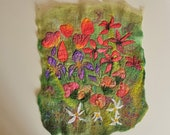 Splash of Spring Flowers Wool and Silk Felt Textile Art Picture Wall Hanging Handmade OOAK