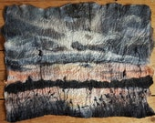 Tranquil Sunset Reed Bed Marshes Suffolk Scenery Felt Textile Art Picture Wall Hanging Handmade OOAK