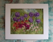 Allium Garden Purple Pink Flowers Felt Textile Art Picture Wall Hanging Handmade OOAK