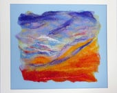 Sunrise Sky Skyscape Felt Textile Picture with Embroidery Handmade Art