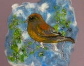 Small Bird on a Bough Felt Textile Picture Art with Embroidery Handmade