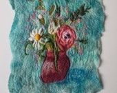 Mother's Day Posy Pink Flowers Felt Textile Art Picture Wall Hanging Handmade OOAK