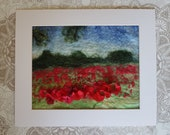 Poppy Field Felt Textile Art Picture Wall Hanging Handmade OOAK