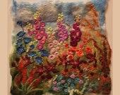 Summer Flower Garden Hollyhocks Cornflowers Felt Textile Art Picture Wall Hanging Handmade OOAK