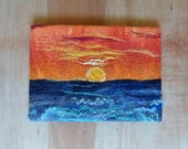 Sunrise Sky over the Sea Ocean Waves Embroidery Original Felt Textile Art Picture Wool Painting with Silk Handmade OOAK