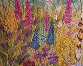 English Summer Flowers Foxgloves Delphiniums Felt Textile Art Picture Large Wall Hanging Handmade OOAK