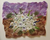 White Flower Arrangement Felt Textile Art Picture Wall Hanging Handmade OOAK
