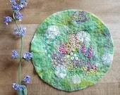 English Country Garden Embroidered Felt Textile Art Picture Wall Hanging Circular Handmade OOAK