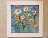 Daisy Summer Sky Felt Textile Art Picture Wall Hanging Handmade OOAK