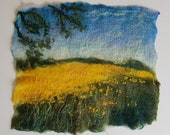 Field of Gold Felt Textile Art Picture Wall Hanging Handmade OOAK