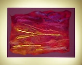 Dramatic Luxurious Red Pink Sunset Skyscape Felt Textile Art Picture with Gold Foil Handmade