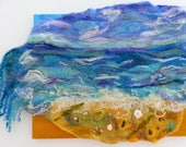 Breaking Wave ~ Embroidered and beaded with shells and sea glass Sea Picture Handmade Wall Art Felt Textile Art OOAK