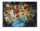 Sunflower Arrangement Felt Textile Art Picture Wall Hanging Handmade OOAK