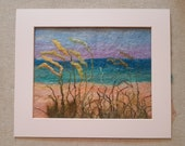 Dunes Sea View Felt Textile Art Picture Wall Hanging Handmade OOAK