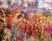 Summer Hedgerows Felt Textile Art Picture Large Wall Hanging Art Original Handmade OOAK