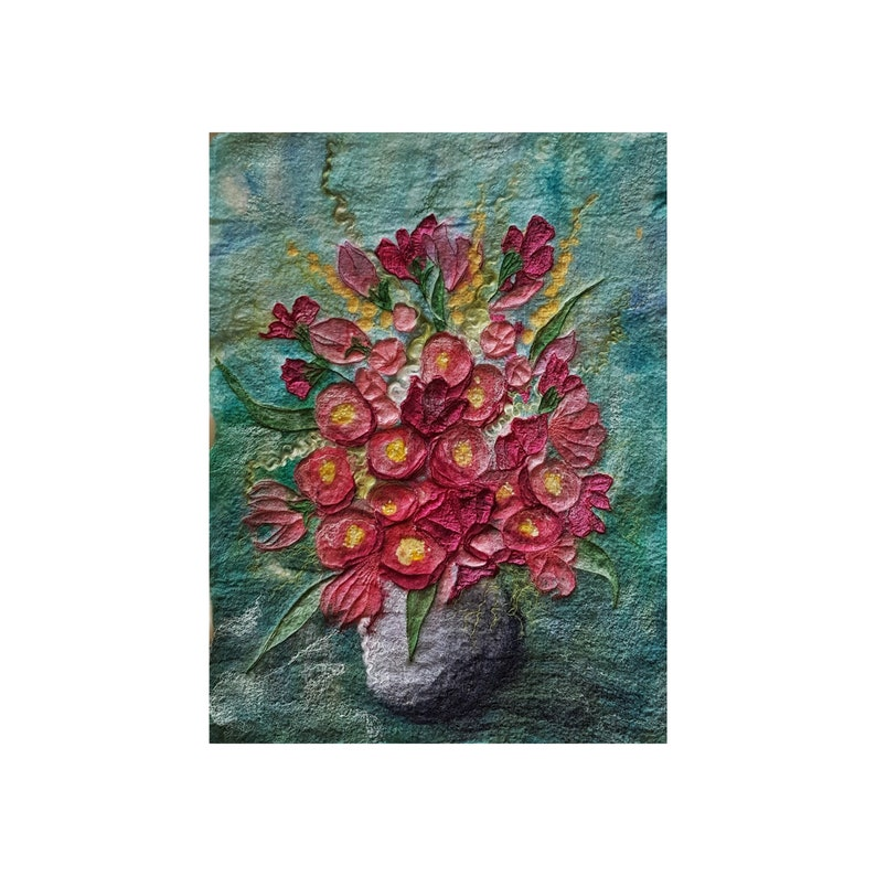 Vase of Pink Flowers Felt Textile Art Picture Wall Hanging image 0