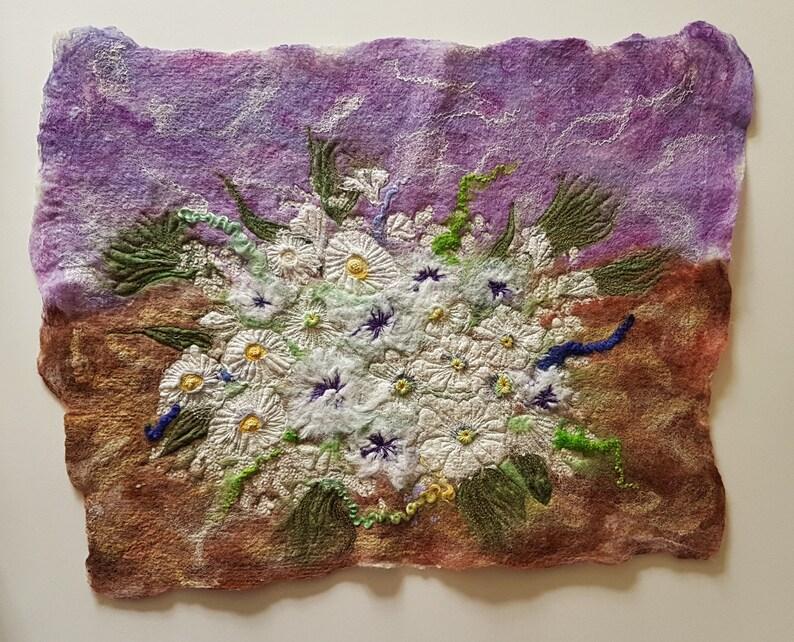 White Flower Arrangement Felt Textile Art Picture Wall Hanging image 0